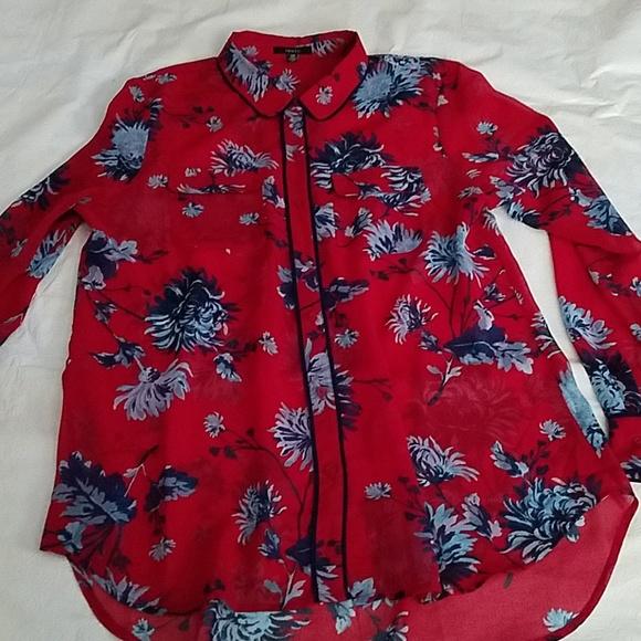 Isaac Mizrahi Tops - IMNYC Isaac Mizrahi Red Blue Flower Shirt Large